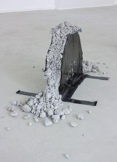 <h5>Untitled</h5>,2009, concrete, plastic foil, 35 x 50 x 5 cm