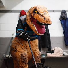 Introducing the newest team member Rexy! You may have seen him make his GONGSHOW debut the other day. His family may be extinct, his arms may be short but that won't stop him from living the hockey dream nor should it! Welcome to the big leagues Rexy Team Member, Extinct, Cowboy Hats, Hockey, Arms, Lifestyle, Big, How To Make, Fashion