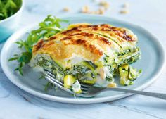 This spinach and ricotta lasagne with courgette pasta is a good alternative to a…