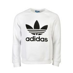 adidas Originals Trefoil Crew Hoodie (£50) ❤ liked on Polyvore featuring tops, hoodies, crew top, hooded pullover, trefoil hoodie, hoodie top and crew neck hoodie