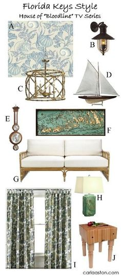 """Netflix's """"Bloodline"""" house: a decor and furnishing shopping list / butcher block; curtains; table lamp; barometer, coastal style; wicker; bamboo; lantern; wallpaper; get the look Key West Decor, Key West Cottage, Florida Decorating, Nautical Interior, Dining Room Blue, Ashley Home, Florida Keys, West Florida, House Fan"""