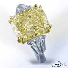 Natural yellow fancy cushion cut diamond engagement ring by JB Star.  Available at Alson Jewelers.