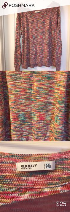 Old Navy MultiColor Sweater Lightweight crew neck sweater  Multi color (yellow, pink, orange to name a couple) No holes/stains Minimal piling. Old Navy Sweaters