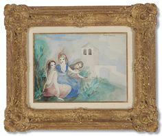 Trois jeunes filles dans le parc du château Impressionist Art, Modern Art, Watercolor, Gallery, Illustration, The Park, Daughters, Pen And Wash, Watercolor Painting