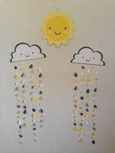 You Are My Sunshine Hanging Decoration- Yellow  Grey, Birthday Party Decoration, Baby Shower on Etsy, $55.00