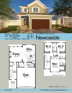 Charming and compact the Newcastle is a perfect Traditional house plan for new homebuyers and economy builders alike. One of our narrowest home designs Town House Plans, Narrow Lot House Plans, Two Story House Plans, Modern House Plans, Duplex Floor Plans, Home Design Floor Plans, House Floor Plans, Newcastle, Three Bedroom House Plan