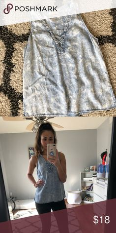 Adorable Acid wash printed tank So cute! One of my favorite tanks! Worn once for a mommy son photo shoot and I was obsessed. From a local boutique. Great condition. Needs a new owner for Spring! Size medium but fits perfect as a loose fitted small! Tops Tank Tops