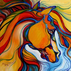 pushing primaries.      Southwest Abstract Horse, Marcia Baldwin