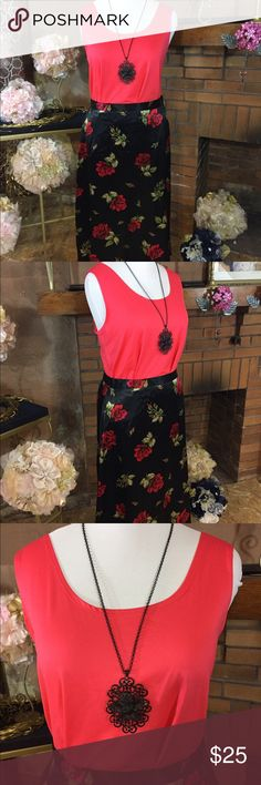 Adrian Jordan maxi skirt and Avenue tank Adrian Jordan maxi skirt sz 22/24. Black Satin-like feel and look. 44 inch waist and 36 inches long. Elastic in back of waist. New with tags. Avenue coral tank top sz 22/24. 92% nylon and 8% spandex. Previously owned. Black necklace with pendant. Please check out all pictures for best description of the items. Ask me any questions and happy shopping. Adrian Jordan  Skirts Maxi