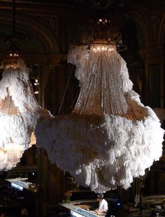 feather embellished chandelier, from students at Beckmans College of Design