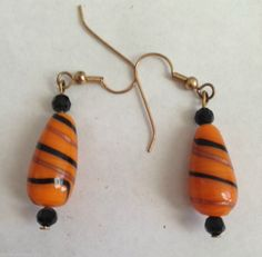 Orange Black Earrings Glass Beads Jewelry Handmade Halloween Wicked Dangle Hooks #DavenportDesigns #DropDangle