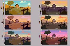 Colorz Some colors research I made for a school project I'm working on! A really cool exercise to experiment new things in colors! Environment Painting, Environment Concept Art, Environment Design, Color Studies, Art Studies, Digital Painting Tutorials, Art Tutorials, Color Script, Visual Development