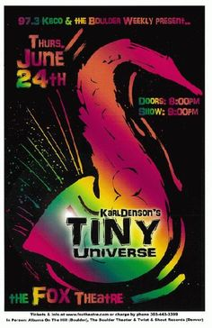 Original concert poster for Karl Denson's Tiny Universe at The Fox Theatre in Boulder, Colorado in 2010. Artwork by Mark Serlo. 11x17 card stock.