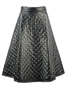 Shop Black Quilted Beaded PU Mid Skirt from choies.com .Free shipping Worldwide.$46.79