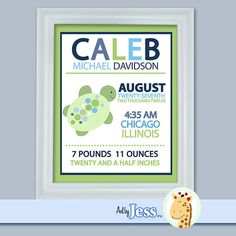 Sea Turtle Birth Announcement Print by AllPetsCherished on Etsy, $18.95