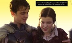 especially since they were the ones who spent the most time in Narnia. He would have saved his other siblings as well, but i think Lucy would be the on his list. And i think Lucy would to the exact same thing for Edmund. Lucy Pevensie, Peter Pevensie, Susan Pevensie, Edmund Pevensie, Narnia 3, Last Battle, Georgie Henley, Chronicles Of Narnia, Cs Lewis