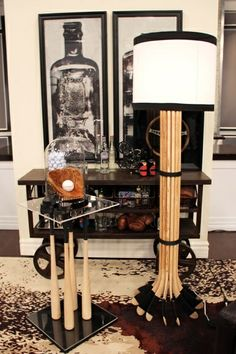 Baseball Bat Table And Hockey Stick Lamp. Would Be Great DIY Furniture For A