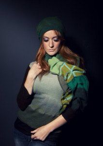 Cashmere Recycled Ruffle Scarf One of a Kind Ready to Ship hand dyed greens