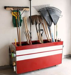 Great idea for an old filing cabinet - use in the garage, mudroom, basement, club house or sports area.  Would make a great place to organize storage for soils, peat moss, and other garden necessities.  Add a sturdy cover and you could store pet food, litter, or other pet needs - buy in bulk and save money!  Would also make a SUPER recycling bin - old filing cabinet finds a new upcycled repurpose!