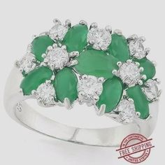 6.00ctw Emerald & White Sapphire Ring #Glamouresq #Cluster #any