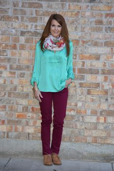 Spring transition outfits using winter pieces and spring pieces. Casual Work Outfits, Work Attire, Work Casual, New Outfits, Winter Outfits, Spring Fashion, Winter Fashion, Burgundy Pants, Teal Shirt