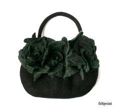 Black Felt bag Felted bag felted handbag Felt Bags Black