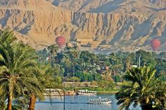Scene for Nile Boats, Air Balloons &  Hatshepsut Temple in Luxor. #Egypt #Tours #Trips #Excursions #Holidays #Packages