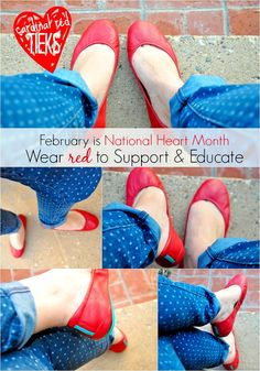 Cardinal Red Tieks in support of National Heart Month. See more here: http://verybusymamablog.com/2014/02/wear-red-national-heart-month.html #Tieks