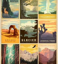 "National Parks Multi-Design Print, Limited Edition 18"" x 24"""