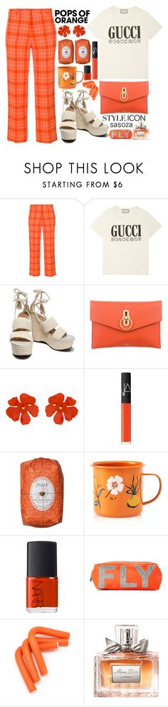 """Pops of orange by Sasoza"" by sasooza ❤ liked on Polyvore featuring Victoria Beckham, Gucci, Schutz, Mulberry, Jennifer Behr, NARS Cosmetics, Fresh, Magpie & Jay, Flight 001 and Christian Dior"