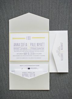 Gray and Yellow Modern Pocket Wedding Invitation  Anna and Paul by LamaWorks