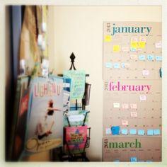 sticky note project plan wall calendar