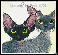 LTD. EDITION SMOKE DEVON REX CAT PRINT FROM ORIGINAL PAINTING SUZANNE LE GOOD