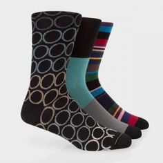 Paul Smith Men's Stripe And Circle Socks Three Pack All Socks