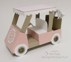 A tutorial for a golf cart (for her) gift card holder - amazingly creative! Maybe for the golf tournament! 3d Paper Projects, 3d Paper Crafts, Paper Toys, Craft Projects, Envelopes, Gift Cards Money, Scrapbooking, Pop Up Cards, Card Tutorials