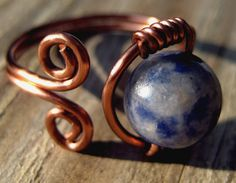 Hand-Formed Copper Ring with Lapis Natural Stone