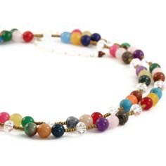 Colorful stone beaded long necklace or by KathrynDesignsArt, $35.00