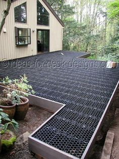 How to build an elevated stone deck using paver stones. A stone deck will last and last with virtually zero maintenance. See the Silca System being installed on a wood frame. Cool Deck, Diy Deck, Backyard Patio, Backyard Landscaping, Outdoor Patios, Outdoor Rooms, Landscaping Ideas, Outdoor Living, Stone Deck