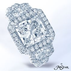 Style 7174 Platinum three-stone-signature engagement ring features a 2.50ct radiant diamond center with matching radiant sides and embraced with pave diamonds. @jewelsbystar #radiant #micropave #diamondring