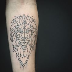 "126 Likes, 3 Comments - Oksana Weber Tattoo Artist (@oksanaweber) on Instagram: ""Geometric lion tattoo on a forearm. Just linework."""