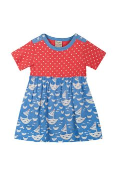 Frugi Boat Neck Body Dress, All At Sea