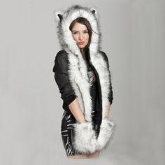 Mother & Kids Fashion 2018 Hot Sale Cute Cartoon Baby Cartoon Dog Warm Fluffy Hood Scarf Hat Snood Pocket Hats Gloves Ears^-^