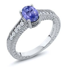 1.15 Ct Oval Blue Tanzanite White Topaz 925 Sterling Silver Engagement Ring >>> Startling review available here  : Engagement Rings Jewelry