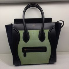Celine Black/Green Pony Hair Mini Luggage Bag - Cruise 2014