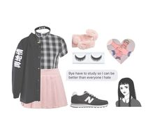 """your dimples are illegal, so i call you illegirl"" by falienbulous ❤ liked on Polyvore featuring Boohoo, New Balance and Ashlyn'd"