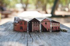 Venice houses bracelet, Art bracelet, Link bracelet, Pink bracelet, Cityscape, Architectural jewelry, Skyline bracelet, 18th century