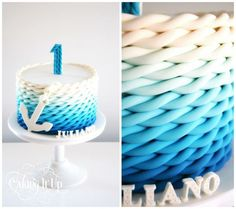 Nautical 1st birthday cake with ombre rope effect - by Caking It Up: