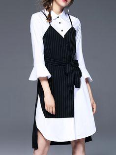 Bell Sleeve Color Block Shirt Dress -SheIn(Sheinside)