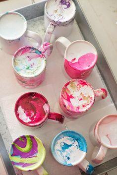 DIY Marbeled Nail Polish Coffee Mugs Tutorial -- make these beautiful mugs with nail polish and water!