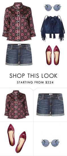 """""""style diary: denim and silk"""" by icelle ❤ liked on Polyvore featuring F.R.S. For Restless Sleepers, Paige Denim, Charlotte Olympia, Linda Farrow and BCBGMAXAZRIA"""